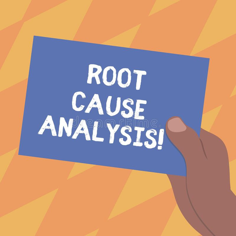 Text sign showing Root Cause Analysis. Conceptual photo method of problem solving used for identifying causes Drawn Hu. Analysis Hand Holding Presenting Blank vector illustration