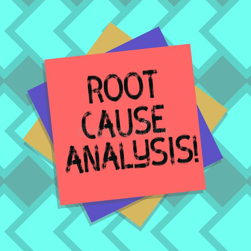 Text sign showing Root Cause Analysis. Conceptual photo method of problem solving used for identifying causes Multiple. Layer of Blank Sheets Color Paper vector illustration