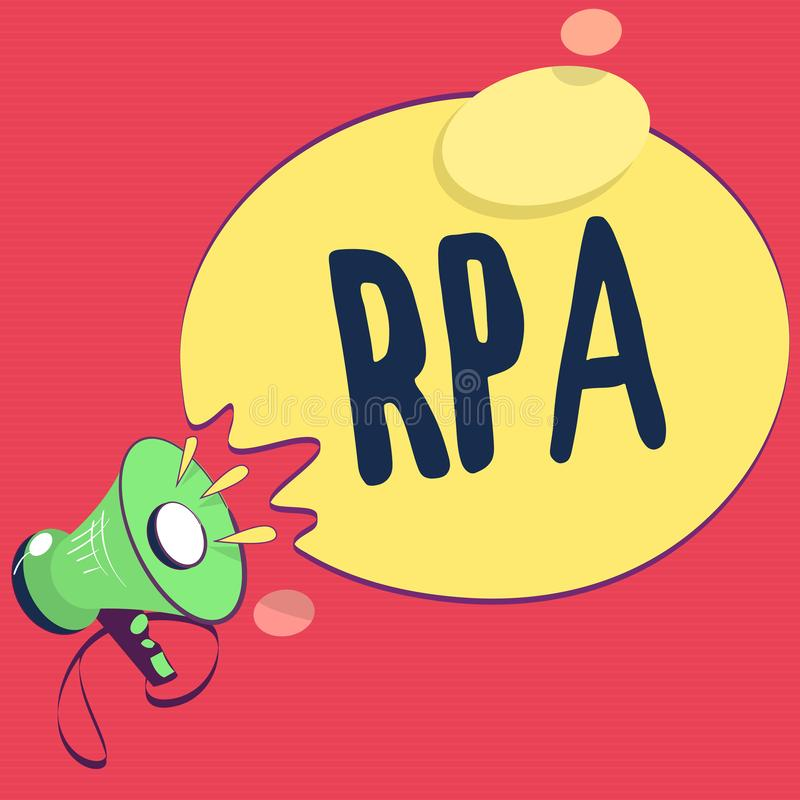 Text sign showing Rpa. Conceptual photo The use of software with artificial intelligence to do basic task.  royalty free illustration