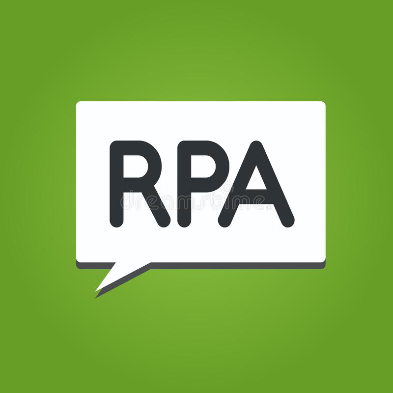 Text sign showing Rpa. Conceptual photo The use of software with artificial intelligence to do basic task.  stock illustration
