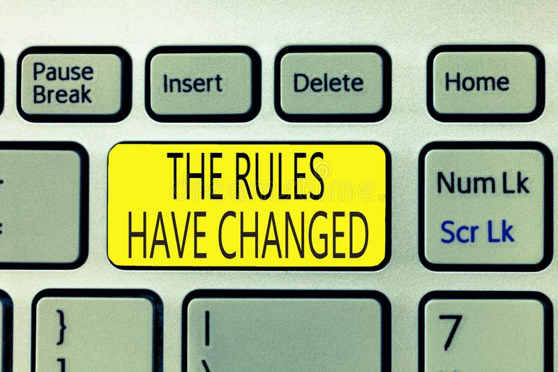 Text sign showing The Rules Have Changed. Conceptual photo the agreement or Policy has a new set of commands stock photography