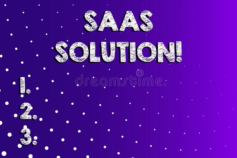 Text sign showing Saas Solution. Conceptual photo software delivery method that provides access to software Lilac Violet vector illustration