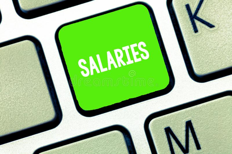 Text sign showing Salaries. Conceptual photo fixed regular payment typically paid on monthly basis period time.  royalty free stock photo