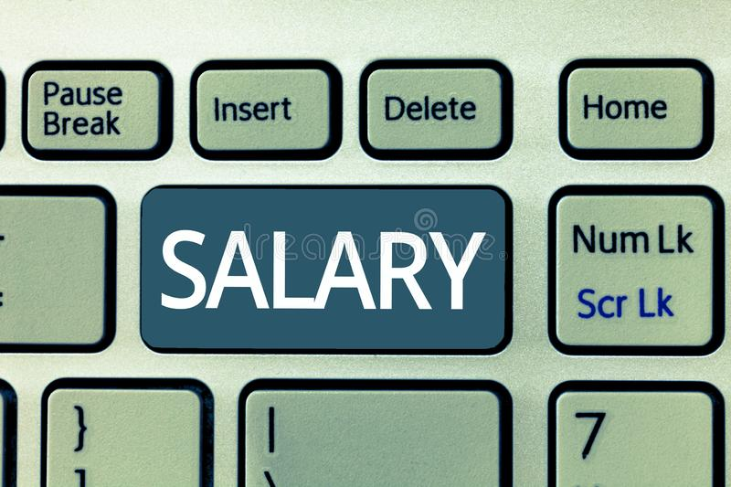 Text sign showing Salary. Conceptual photo fixed regular payment typically paid monthly basis for fixed period.  royalty free stock photography