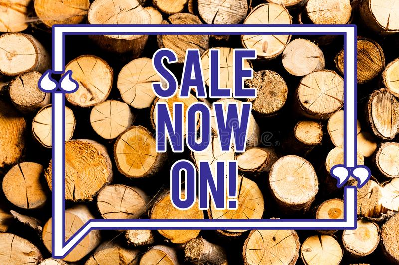 Text sign showing Sale Now On. Conceptual photo Reduction of prices Discounts Special offers at this time Wooden background. Vintage wood wild message ideas stock image