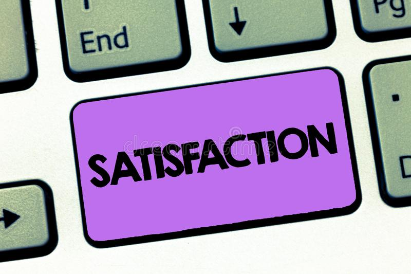 Text sign showing Satisfaction. Conceptual photo Fulfilment of wishes expectations or needs Good experience.  stock photo