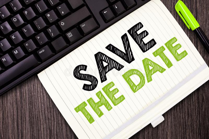 Text sign showing Save The Date. Conceptual photo Systematized events Scheduled activity Recorded Filed.  royalty free stock photo
