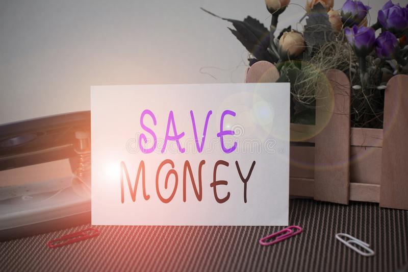 Text sign showing Save Money. Conceptual photo store some of your cash every month to use them sometime later Flowers. Text sign showing Save Money. Business royalty free stock photography