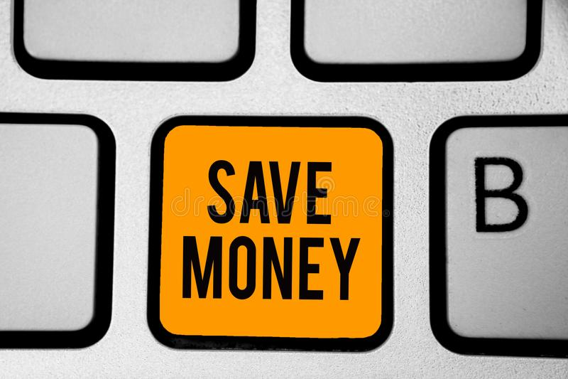 Text sign showing Save Money. Conceptual photo store some of your cash every month to use them sometime later Keyboard orange key. Intention create computer stock photography