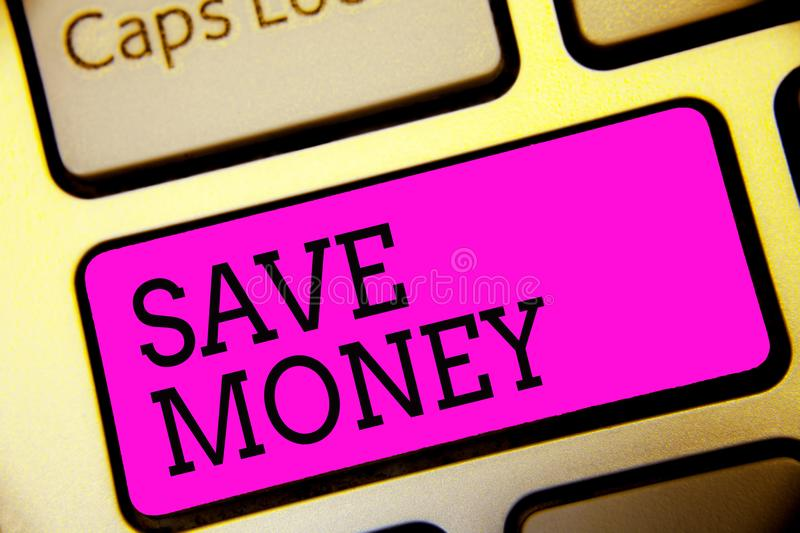 Text sign showing Save Money. Conceptual photo store some of your cash every month to use them sometime later Keyboard purple key. Intention create computer stock image