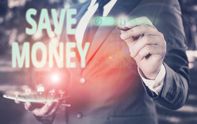 Text sign showing Save Money. Conceptual photo store some of your cash every month to use them sometime later Male human. Text sign showing Save Money. Business stock photos