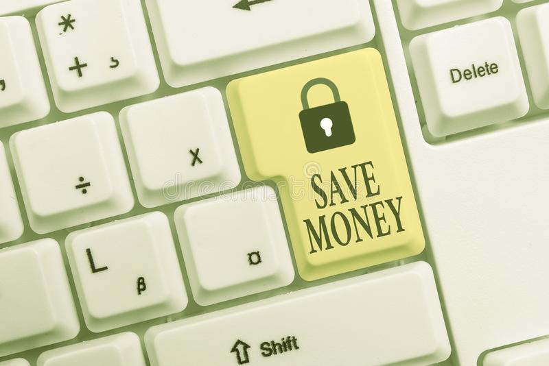 Text sign showing Save Money. Conceptual photo store some of your cash every month to use them sometime later White pc. Text sign showing Save Money. Business royalty free stock photography