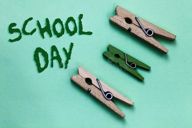 Text sign showing School Day. Conceptual photo starts from seven or eight am to three pm get taught there Three brown green vintag stock images