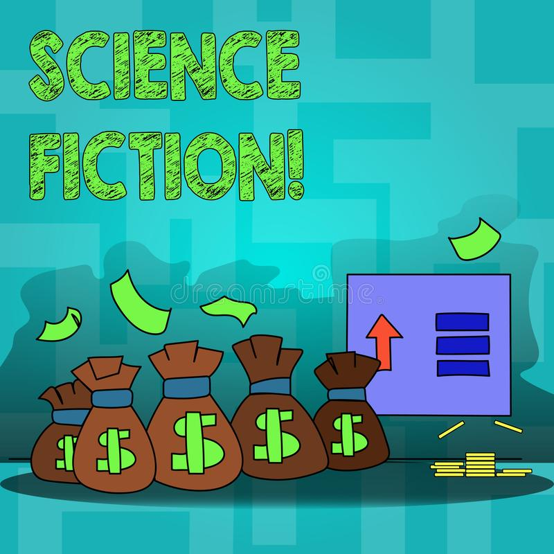 Text sign showing Science Fiction. Conceptual photo Fantasy Entertainment Genre Futuristic Fantastic Adventures. Text sign showing Science Fiction. Business royalty free illustration