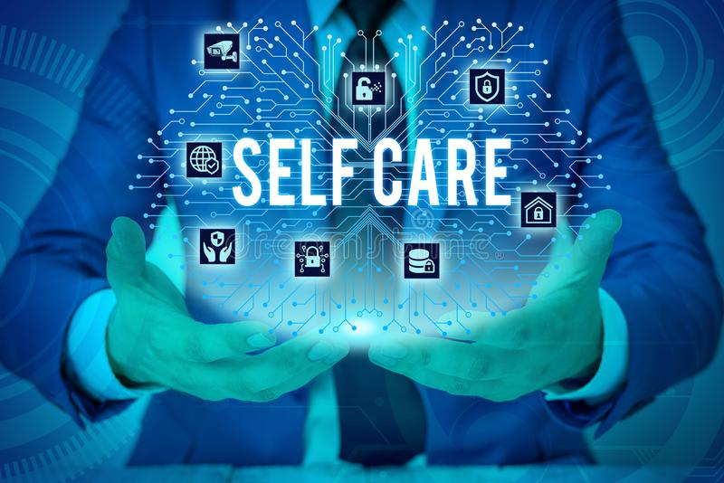 Text sign showing Self Care. Conceptual photo the practice of taking action to improve one s is own health Male human. Text sign showing Self Care. Business royalty free stock photo