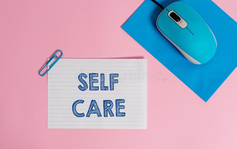 Text sign showing Self Care. Conceptual photo the practice of taking action to improve one s is own health Wire. Text sign showing Self Care. Business photo stock photos