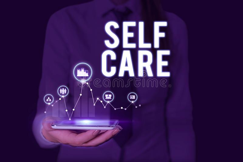 Text sign showing Self Care. Conceptual photo the practice of taking action to improve one s is own health Woman wear. Text sign showing Self Care. Business royalty free stock photography