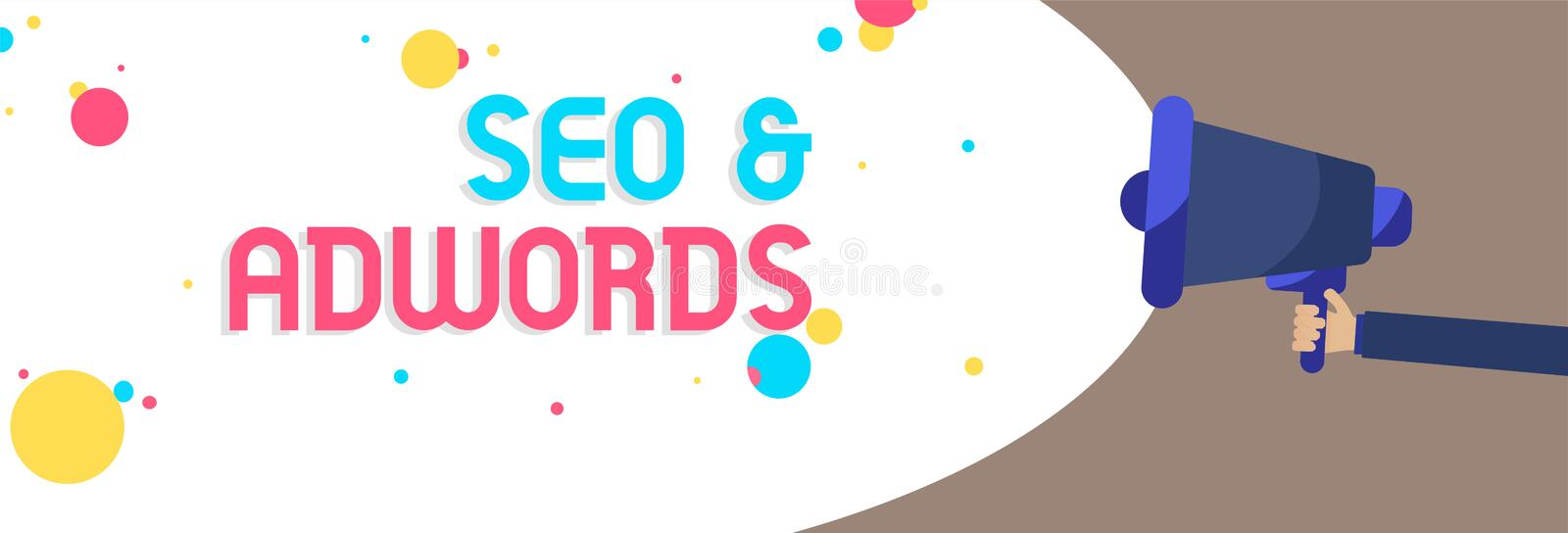 Text sign showing Seo and Adwords. Conceptual photo Pay per click Digital marketing Google Adsense Man holding Megaphone loudspeak. Er screaming talk colorful stock image