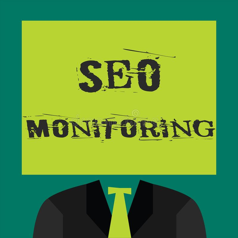 Text sign showing Seo Monitoring. Conceptual photo Tracking the progress of strategy made in the platform.  vector illustration