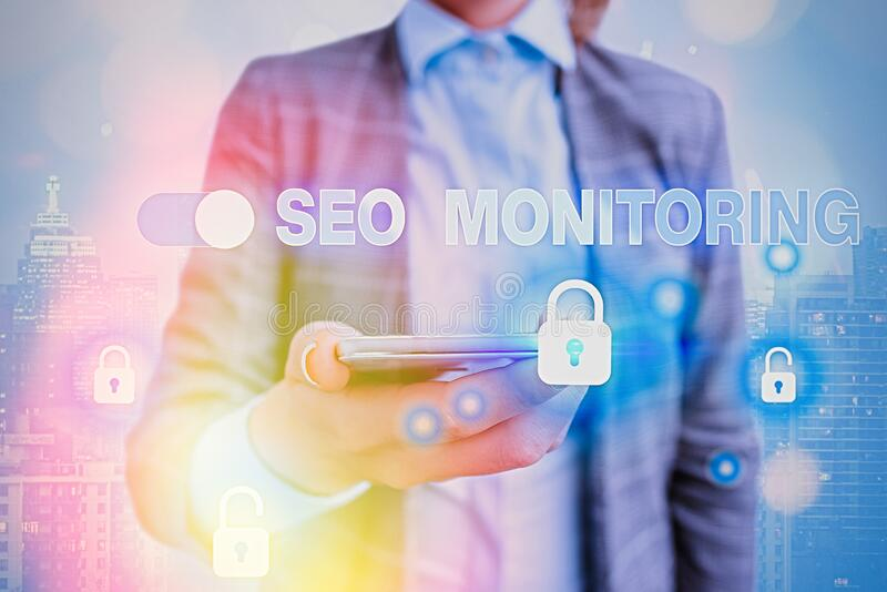 Text sign showing Seo Monitoring. Conceptual photo Tracking the progress of strategy made in the platform. Text sign showing Seo Monitoring. Business photo royalty free stock image