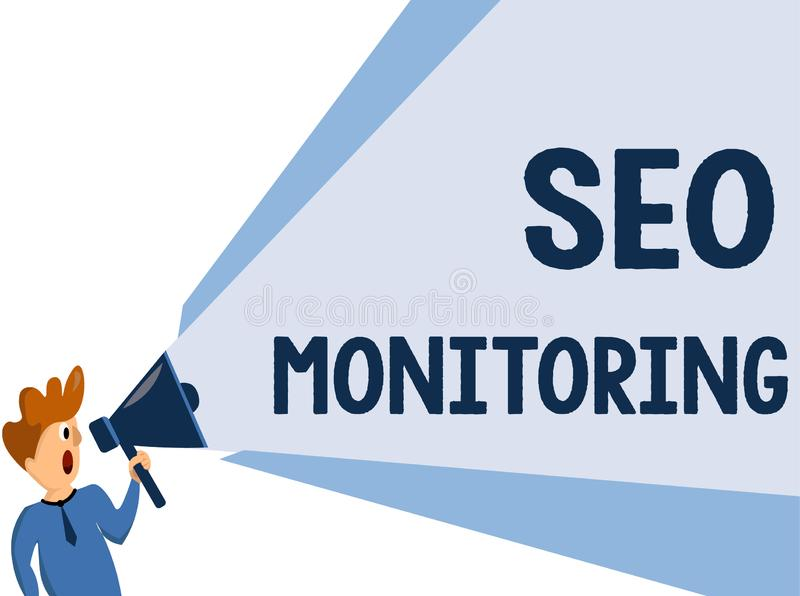 Text sign showing Seo Monitoring. Conceptual photo Tracking the progress of strategy made in the platform.  stock illustration