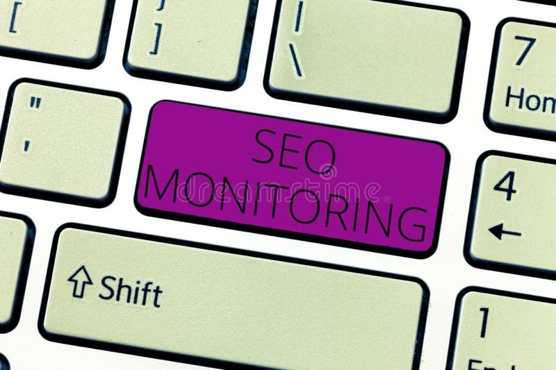 Text sign showing Seo Monitoring. Conceptual photo Tracking the progress of strategy made in the platform.  royalty free stock image