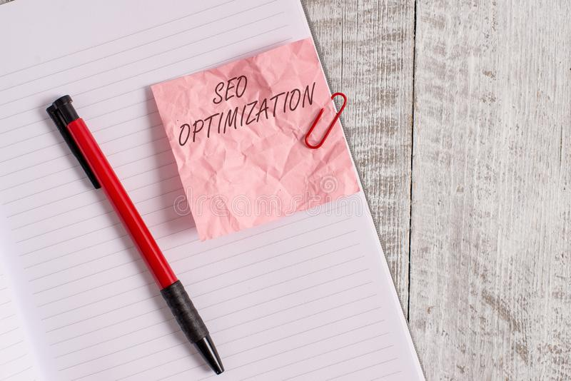 Text sign showing Seo Optimization. Conceptual photo process of affecting online visibility of website or page Wrinkle. Text sign showing Seo Optimization royalty free stock image
