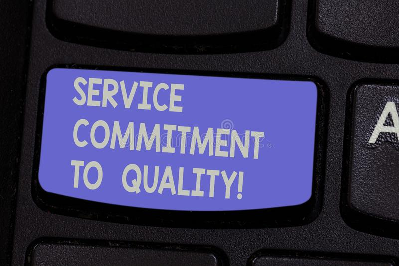 Text sign showing Service Commitment To Quality. Conceptual photo Excellent high quality good Assistance Keyboard key. Intention to create computer message royalty free stock photo