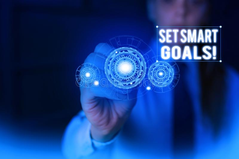 Text sign showing Set Smart Goals. Conceptual photo list to clarify your ideas focus efforts use time wisely Woman wear. Text sign showing Set Smart Goals royalty free stock photography