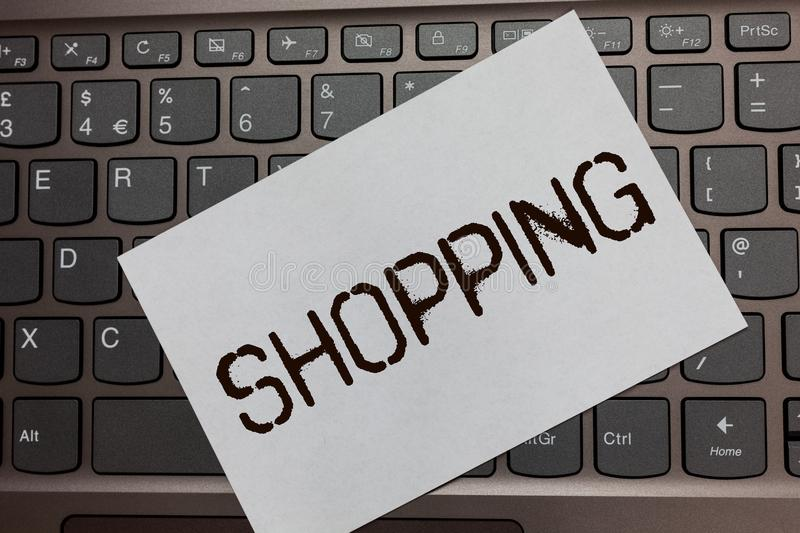 Text sign showing Shopping. Conceptual photo Shopper customer purchase goods products store experience Black laptop keyboard art p. Aper nice computer notebook royalty free stock images