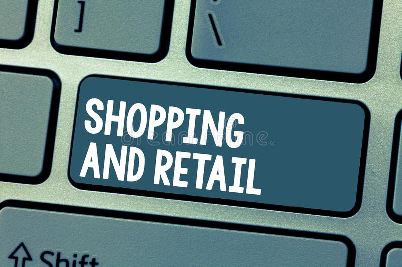 Text sign showing Shopping And Retail. Conceptual photo Process of Selling Consumer Goods Services to customers.  royalty free stock images
