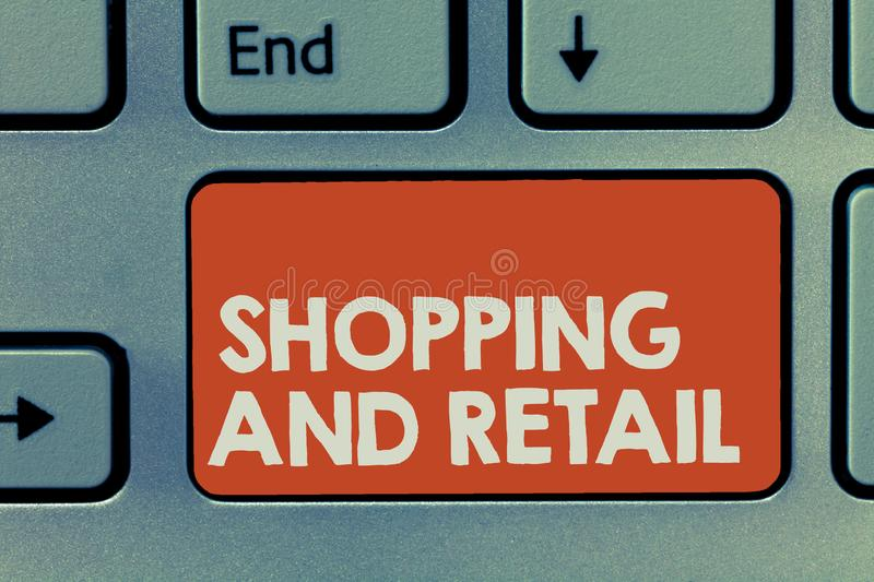Text sign showing Shopping And Retail. Conceptual photo Process of Selling Consumer Goods Services to customers.  royalty free stock image