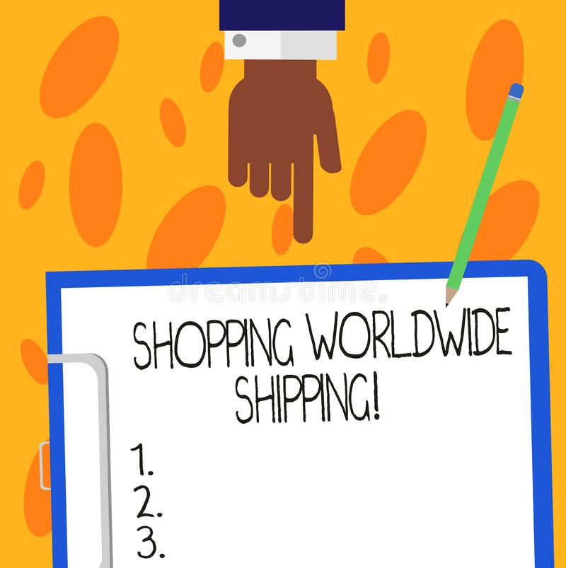 Text sign showing Shopping Worldwide Shipping. Conceptual photo Directly buy online with international shipping Hu analysis Hand. Pointing Down to Clipboard stock images