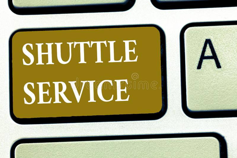 Text sign showing Shuttle Service. Conceptual photo vehicles like buses travel frequently between two places.  royalty free stock photo
