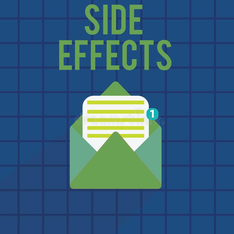 Text sign showing Side Effects. Conceptual photo An unintended negative reaction to a medicine and treatment.  royalty free illustration