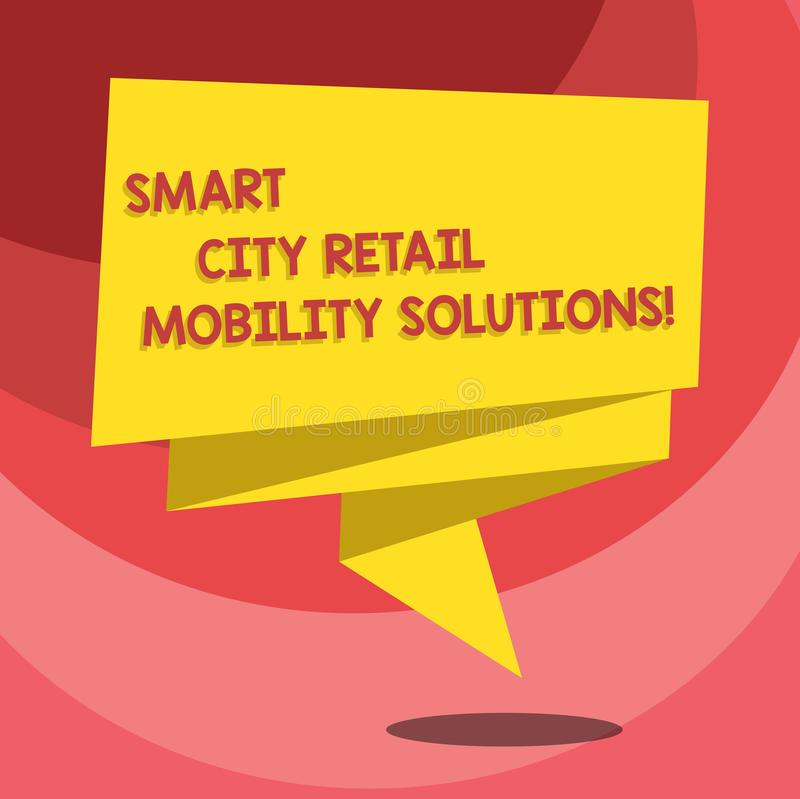 Text sign showing Smart City Retail Mobility Solutions. Conceptual photo Connected technological modern cities Folded 3D. Ribbon Strip Solid Color Blank Sash stock illustration