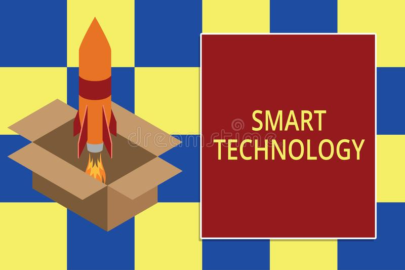 Text sign showing Smart Technology. Conceptual photo gadgets or device that has a built in computer or chip Fire stock images