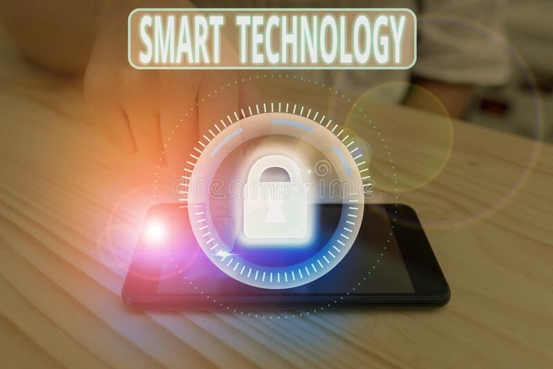 Text sign showing Smart Technology. Conceptual photo used to protect and prevent errors in hard drives. stock image