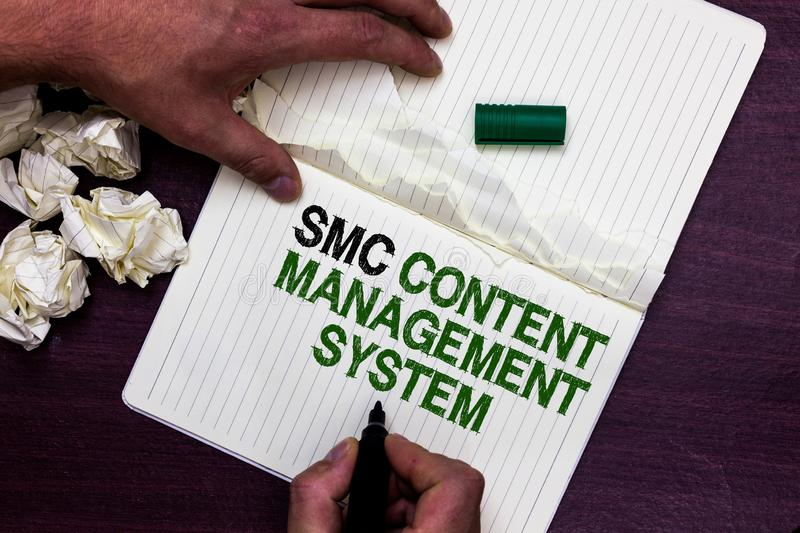Text sign showing Smc Content Management System. Conceptual photo mangae creation and modification of posts Man holding. Marker notebook page crumpled papers stock photo