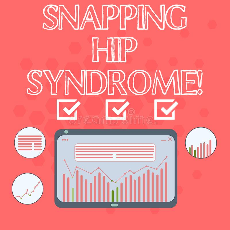 Text sign showing Snapping Hip Syndrome. Conceptual photo audible snap or click that occurs in or around the hip Digital. Combination of Column Line Data stock illustration