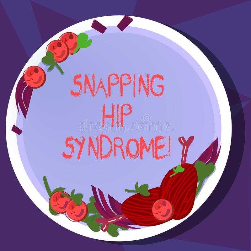 Text sign showing Snapping Hip Syndrome. Conceptual photo audible snap or click that occurs in or around the hip Hand. Drawn Lamb Chops Herb Spice Cherry royalty free illustration