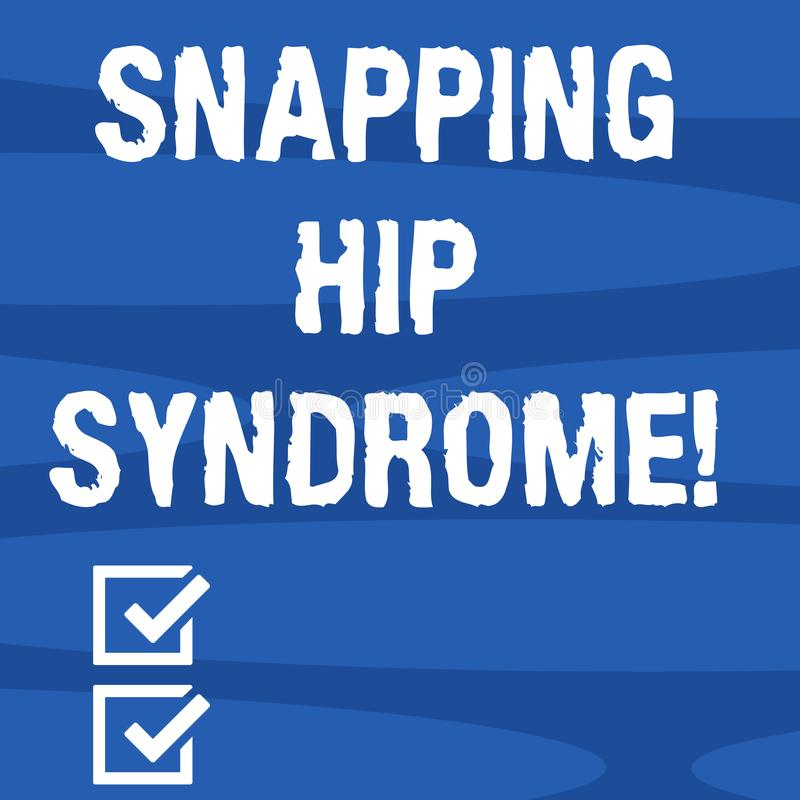 Text sign showing Snapping Hip Syndrome. Conceptual photo audible snap or click that occurs in or around the hip. Geometric Blank Color Shape Oblong in Seamless stock illustration