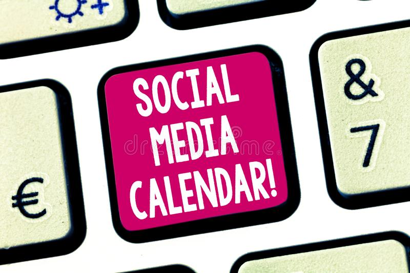 Text sign showing Social Media Calendar. Conceptual photo apps used to schedule social posts in advance Keyboard key. Intention to create computer message stock photo
