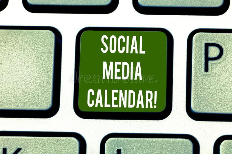 Text sign showing Social Media Calendar. Conceptual photo apps used to schedule social posts in advance Keyboard key. Intention to create computer message royalty free stock photos