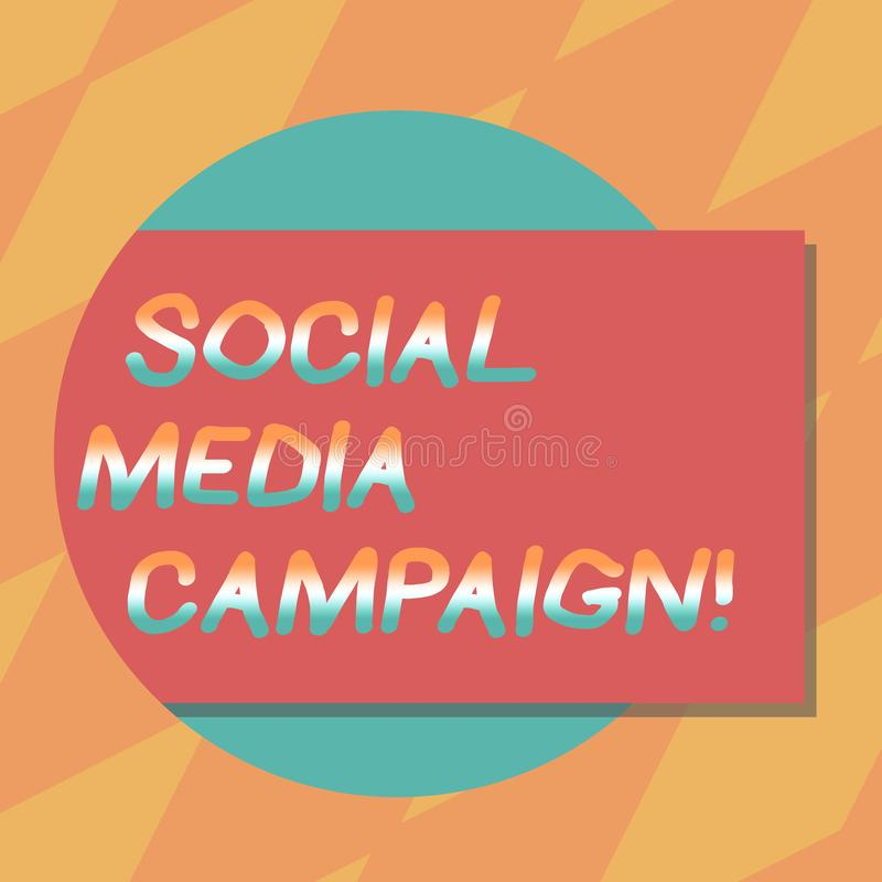 Text sign showing Social Media Campaign. Conceptual photo Use of social networks to promote brands or services Blank. Rectangular Color Shape with Shadow Coming stock illustration