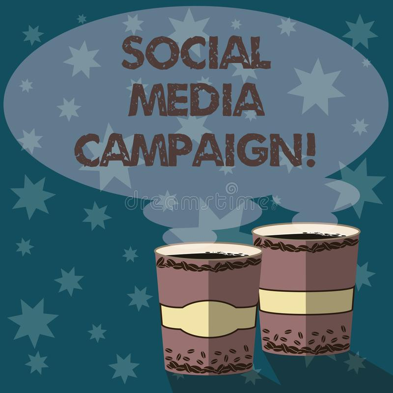 Text sign showing Social Media Campaign. Conceptual photo Use of social networks to promote brands or services Two To Go. Cup with Beverage and Steam icon Blank stock illustration