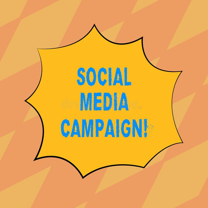 Text sign showing Social Media Campaign. Conceptual photo Use of social networks to promote brands or services Blank. Color Explosion Blast Scream Speech Bubble vector illustration
