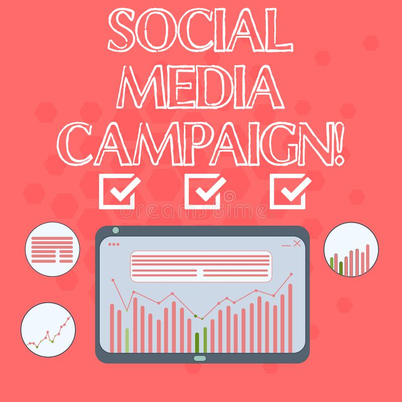 Text sign showing Social Media Campaign. Conceptual photo Use of social networks to promote brands or services Digital. Combination of Column Line Data Graphic vector illustration