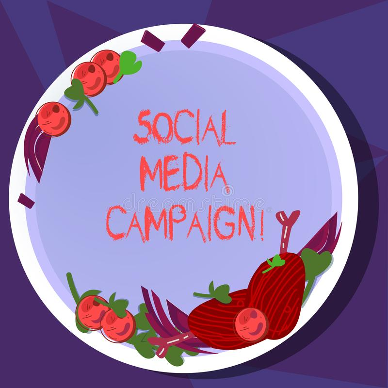 Text sign showing Social Media Campaign. Conceptual photo Use of social networks to promote brands or services Hand. Drawn Lamb Chops Herb Spice Cherry Tomatoes stock illustration