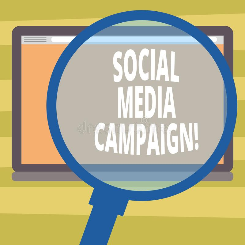 Text sign showing Social Media Campaign. Conceptual photo Use of social networks to promote brands or services. Magnifying Glass Enlarging Tablet Blank Color royalty free illustration